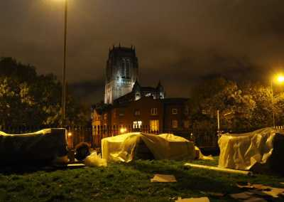 gaskell staff members sleeping out to support the whitechapel centre charity