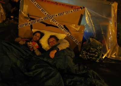 gaskells staff members on a sleepout raising money for whitechapel centre