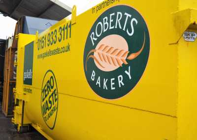 gaskells waste management containers at roberts bakery