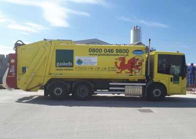 gaskells commercial waste management truck in anglesey