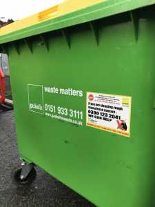 the homeless sticker on gaskells commercial bins