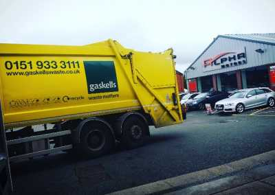 gaskells commercial waste truck arriving at a collection point