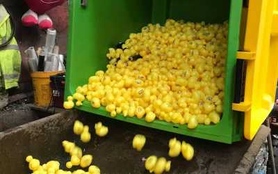 """Gaskells help Manchester Duck Race with """"wheelie"""" good way to recycle."""